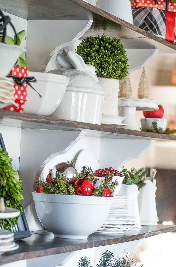 CHRISTMAS OPEN SHELVES- bringing a little Christmas magic to the breakfast nook.