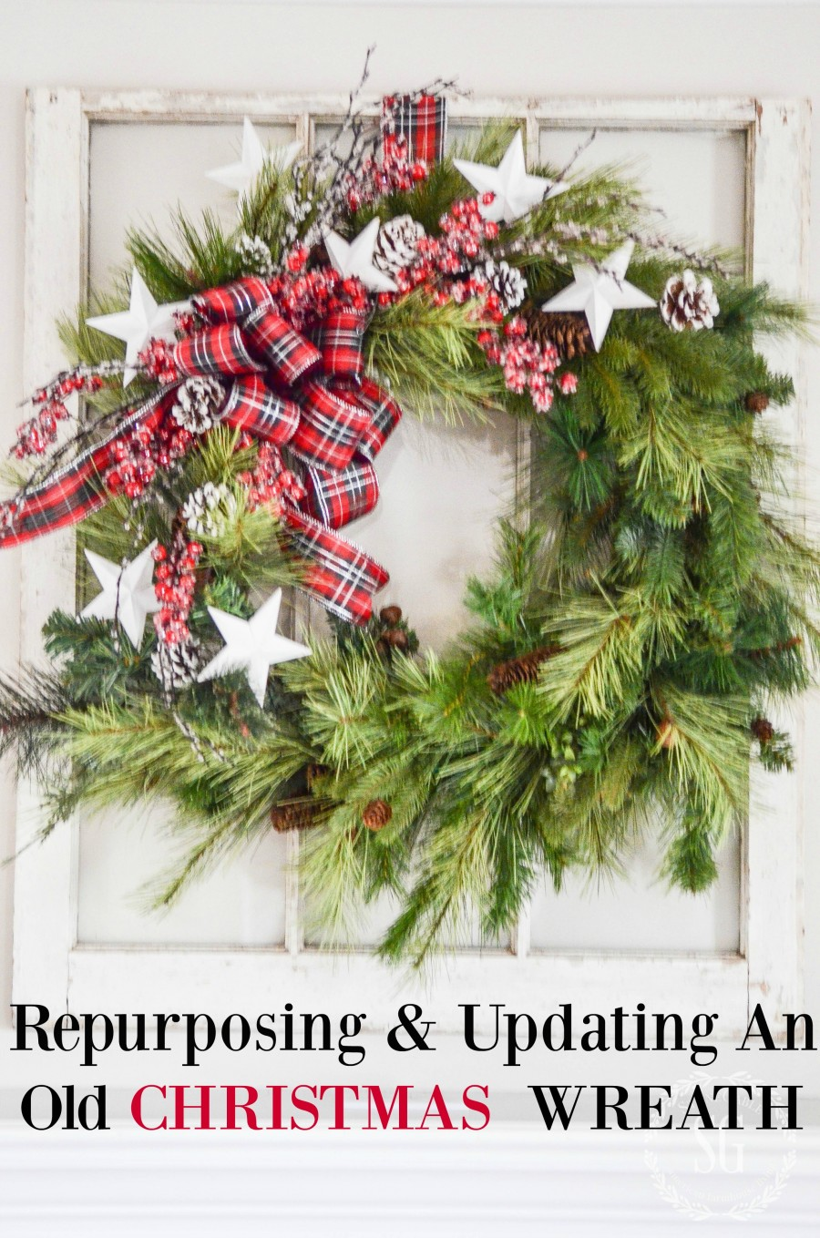 UPDATING AND REPURPOSING AN OLD CHRISTMAS WREATH- Don't throw away your old tired faux Christmas wreaths... make them over! YOU can do this!