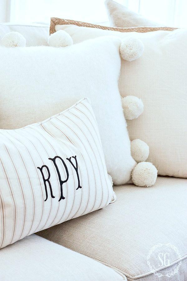 1LIVING ROOM DECOR-monograms-pom poms-stonegableblog-2