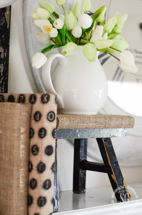 spring-mantel-stool-and-tulips-stonegableblog-com-2