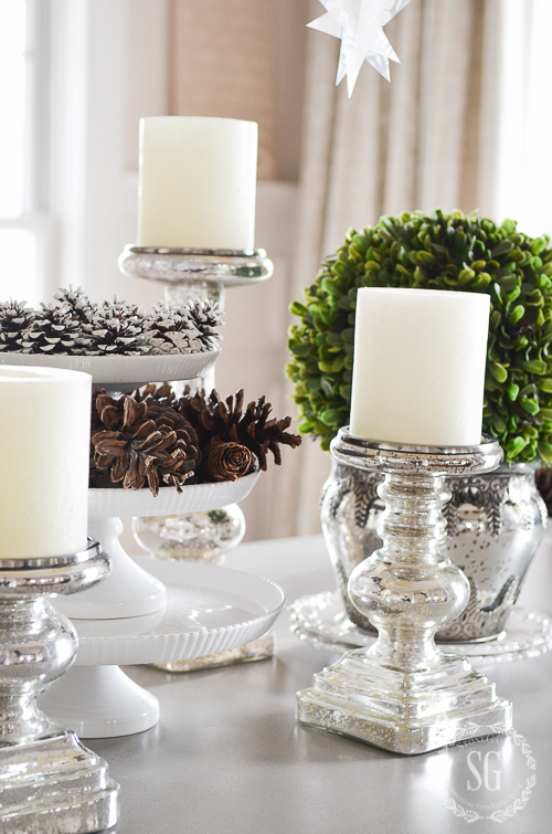 winter-white-dining-room-centerpiece-mercury-glass-candlesticks-stonegableblog-5-3