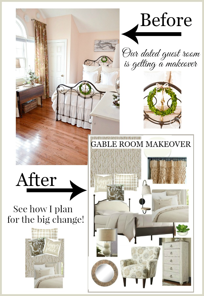Plans and Progress for a guest room makeover. See how I put this cozy guest room together from the flooring and carpet to the ceiling. And every thing in between!