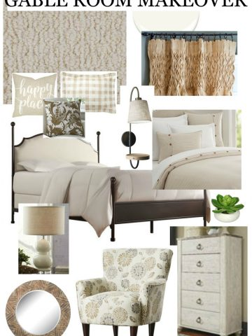 PLANS AND PROGRESS FOR GABLE ROOM MAKEOVER- I love planning a room. Here's how I do it!