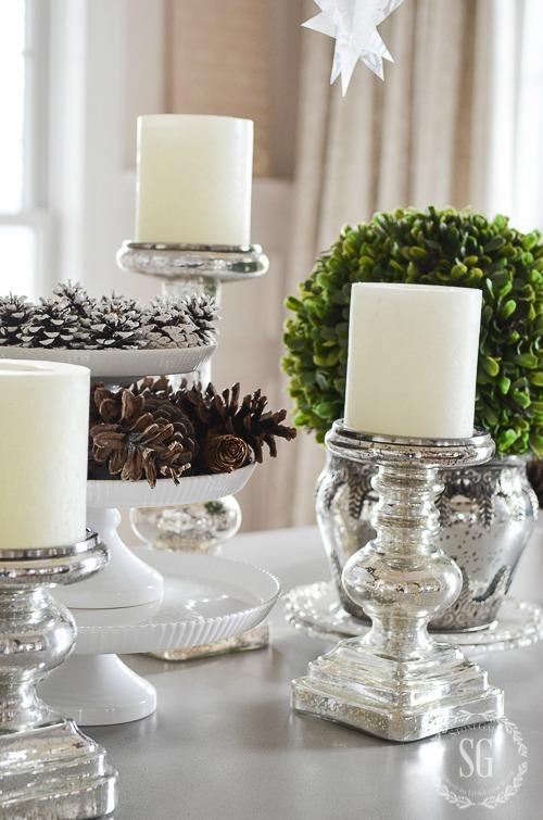 WINTER WHITE DINING ROOM CENTERPIECE-mercury-glass-candlesticks-stonegableblog-5-2