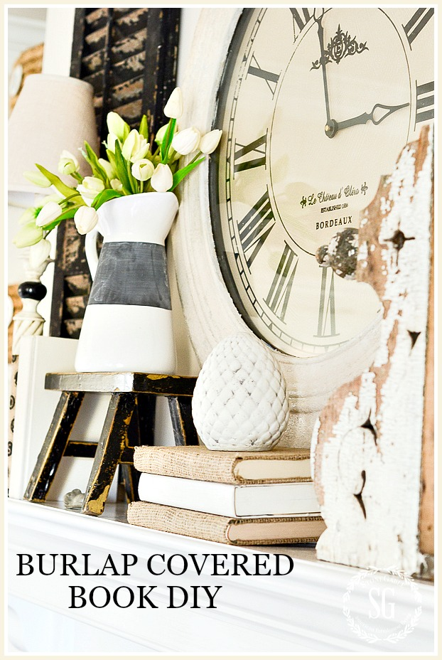 BURLAP COVERED BOOK DIY-an easy way to cover books with burlap and still read them!