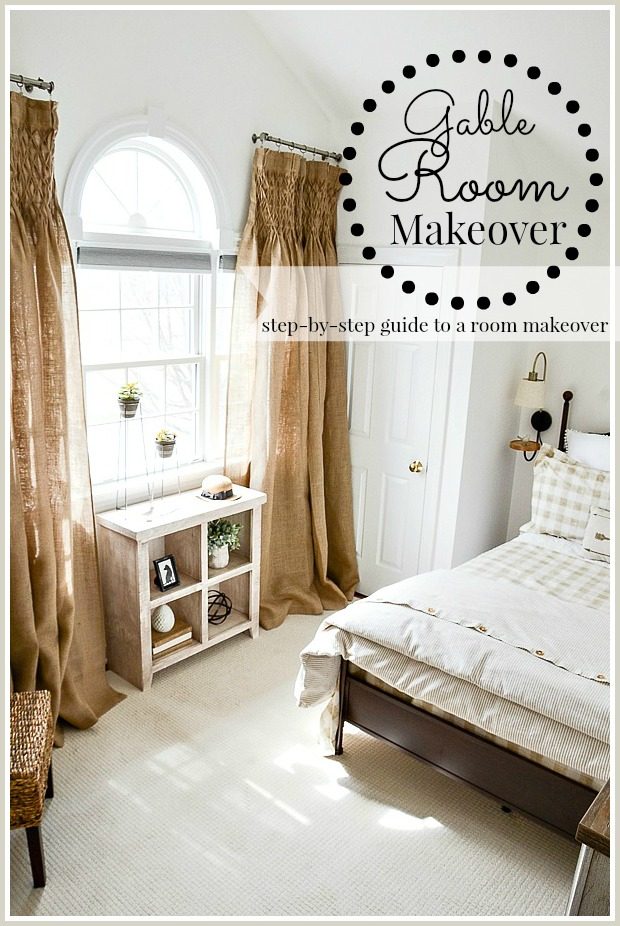 GUEST BEDROOM MAKEOVER REVEAL- A step by step guide about making a room over! Here's how I did it!