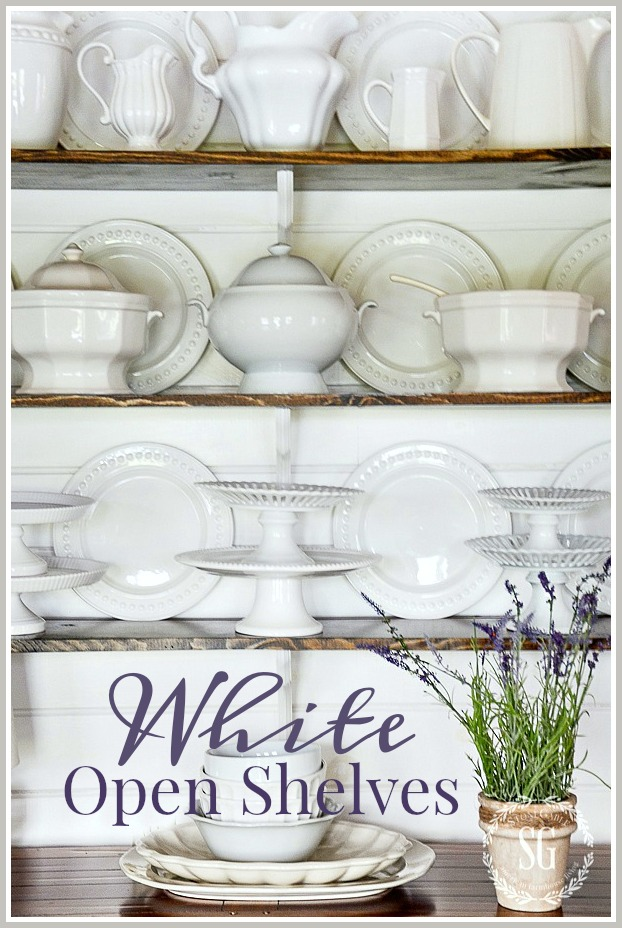 WHITE OPEN SHELVES-easy way to arrange open shelves