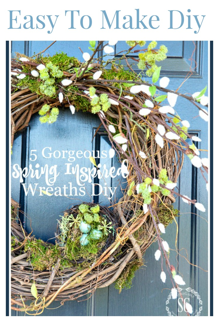DRESS UP YOUR SPRING DOOR- Here are beautiful wreaths with instructions to make all of them