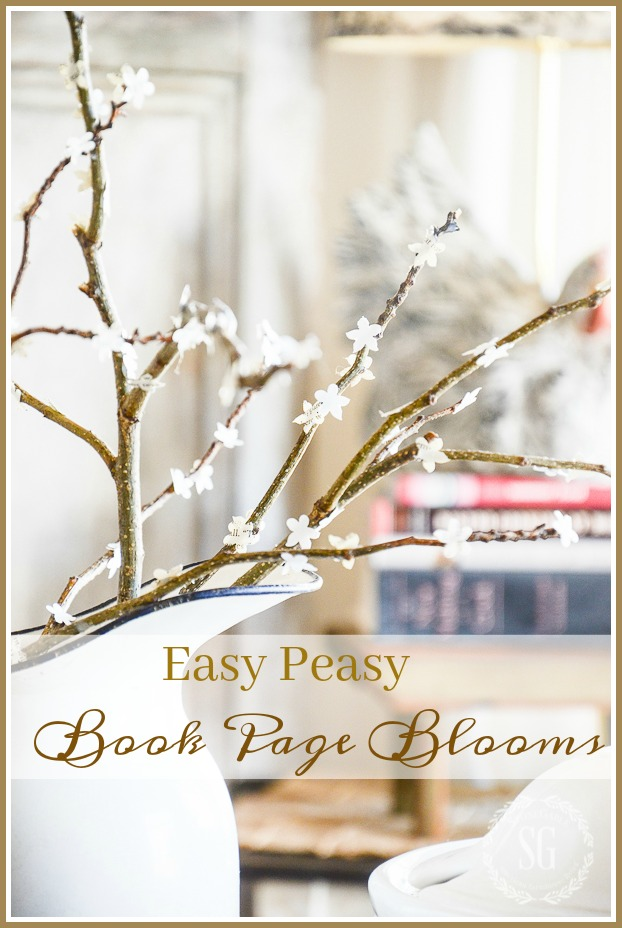 EASY PEASY FAUX BOOK PAGE BOOMS- You don't need to have a flowering tree to have pretty spring blooms! Easy to make!