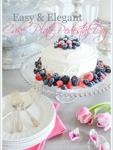 EASY CAKE PLATE PEDESTAL DIY- With just two inexpensive household items and glue you can have a one-of-a-kind cake pedestal!