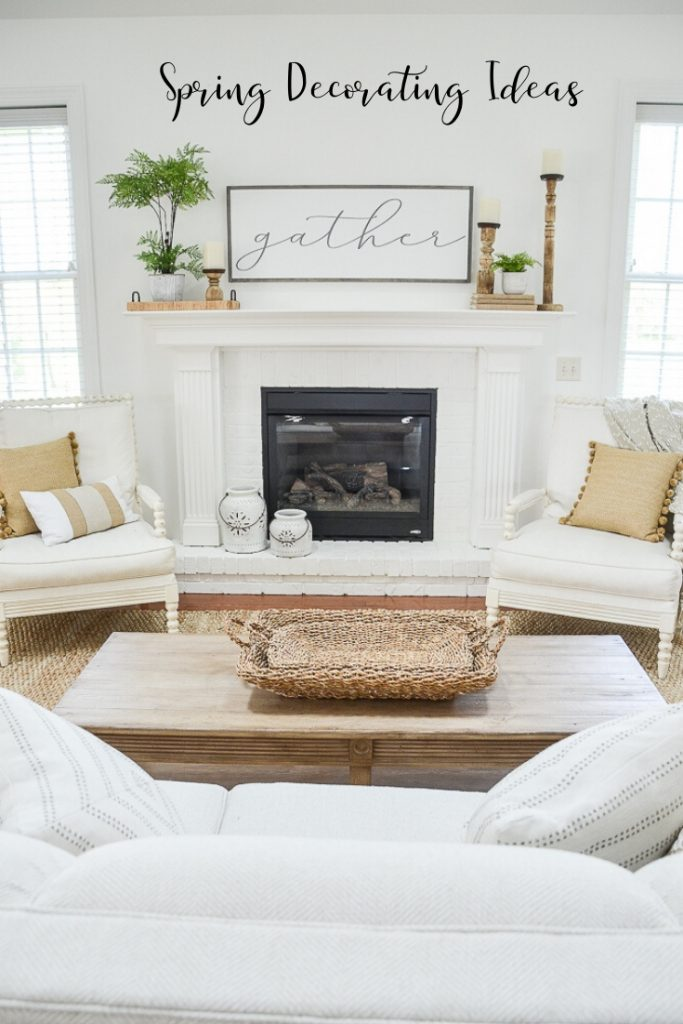 white fireplace with ideas for decorating after easter
