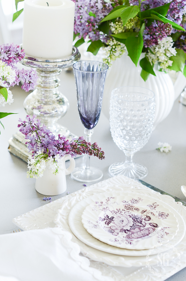 LILAC TABLE- A beautiful, graceful tablescape filled with lovely lilacs!