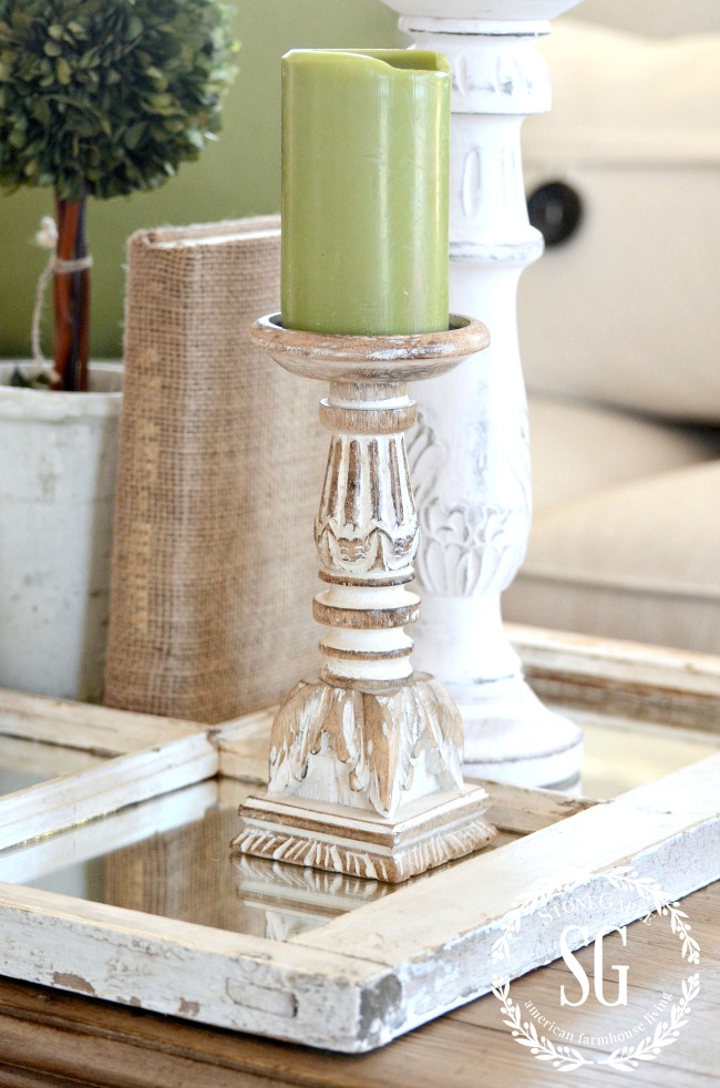 USING A MIRROR IN A VIGNETTE- Add sparkle and pizzazz to your vignette with a mirrored base!