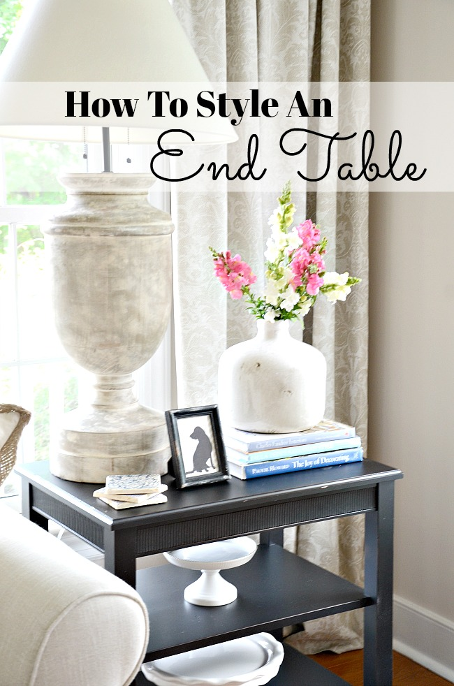 how to style an end table like a pro stonegable. Black Bedroom Furniture Sets. Home Design Ideas