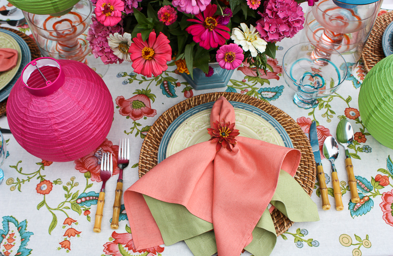 MIDSUMMER NIGHT'S TABLE- A RIOT OF SATURATED COLORS, GARDEN FLOWERS AND PAPER LANTERNS TO CELEBRATE MIDSUMMER'S BEST