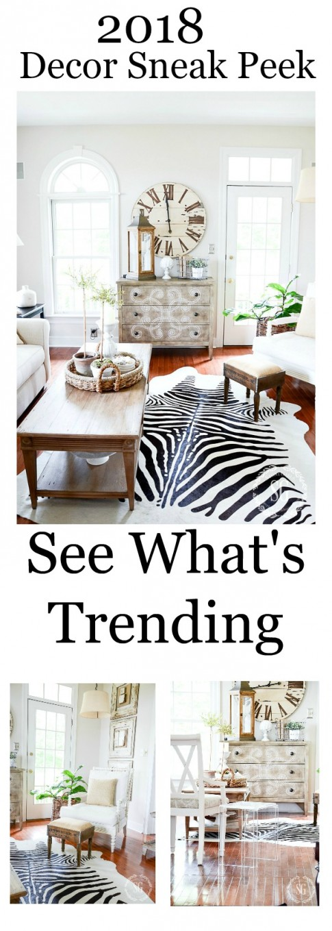 Get a preview of decor trends in 2018. Bo Ho Hippy is on the horizon as well as hide rugs, black and lots of metallics. Come see lots more.