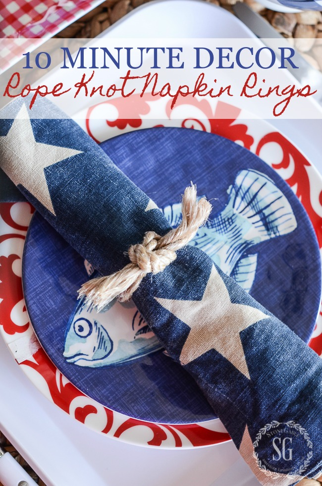 10 MINUTE ROPE KNOT NAPKIN RINGS- Make 8 in less than 10 minutes!
