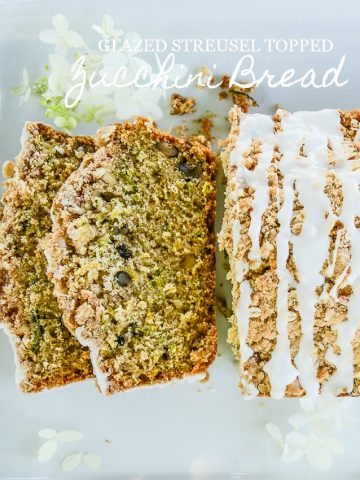 GLAZED STREUSEL TOPPED ZUCCHINI BREAD
