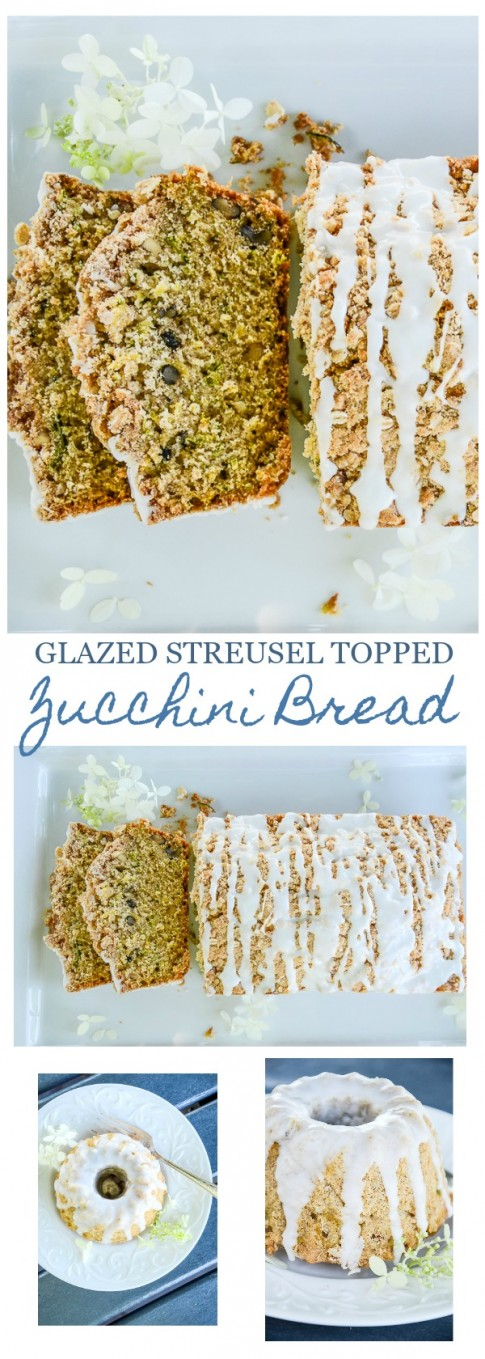 GLAZED STREUSEL TOPPED ZUCCHINI BREAD- A scrumptious, time-honored recipe made even better by a cruncy steusel topping and guilded with a creamy sugary glaze. A culinary sweet treat! A must have in your recipe box!.jpg