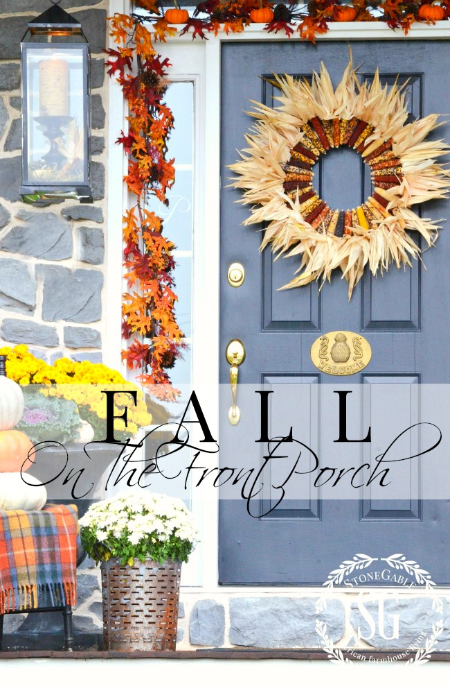 FALL ON THE FRONT PORCH- Fall is the time to create a beautiful entrance for all to see. Use saturated leaves, stacked pumpkins and corn. You door should be a big happy welcome to fall! Get inspired here!