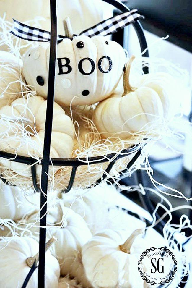 bowl of baby boo pumpkin