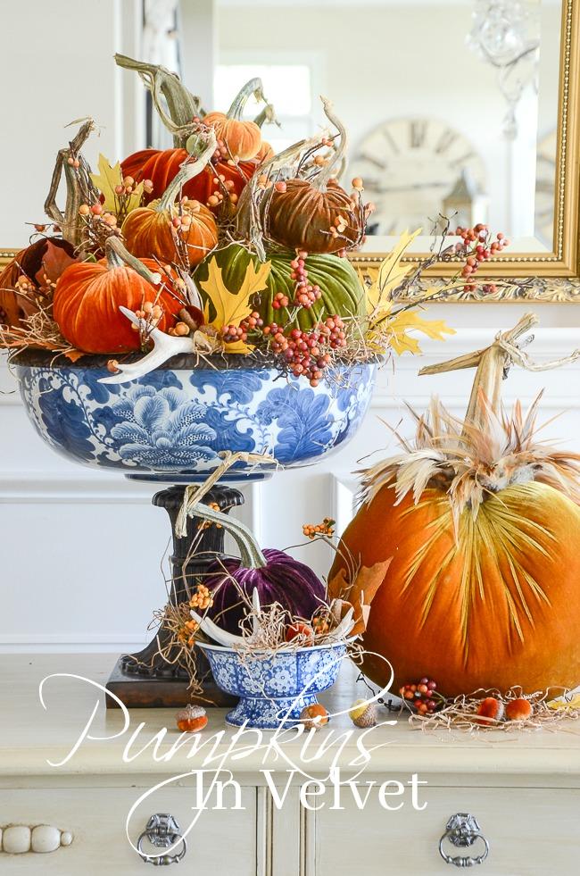 PUMPKINS IN VELVET- Beautiful velvet pumpkins in saturated fall colors. Create a WOW factor centerpiece
