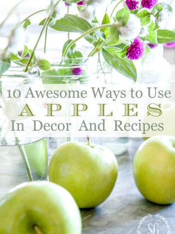 10 AWESOME WAYS TO USE APPLES IN DECOR AND RECIPES- Celebrate the delicious and beautiful apple! Decorate with them and eat them. Here are 10 awesome ways to do both!