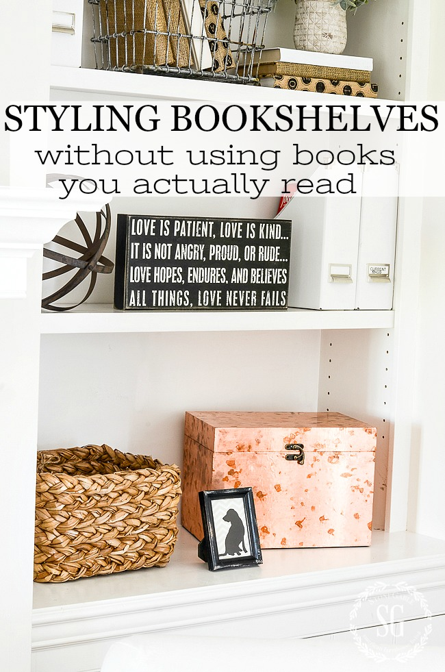STYLING BOOKSHELVES WITHOUT USING BOOKS- Creating a fabulous, well-balanced bookshelf styled without books.