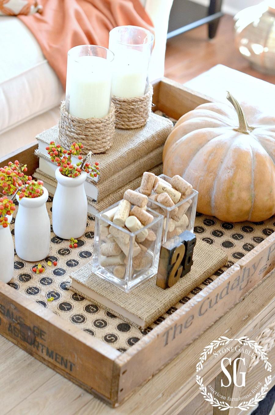 fall vignette with cinderella pumpkin