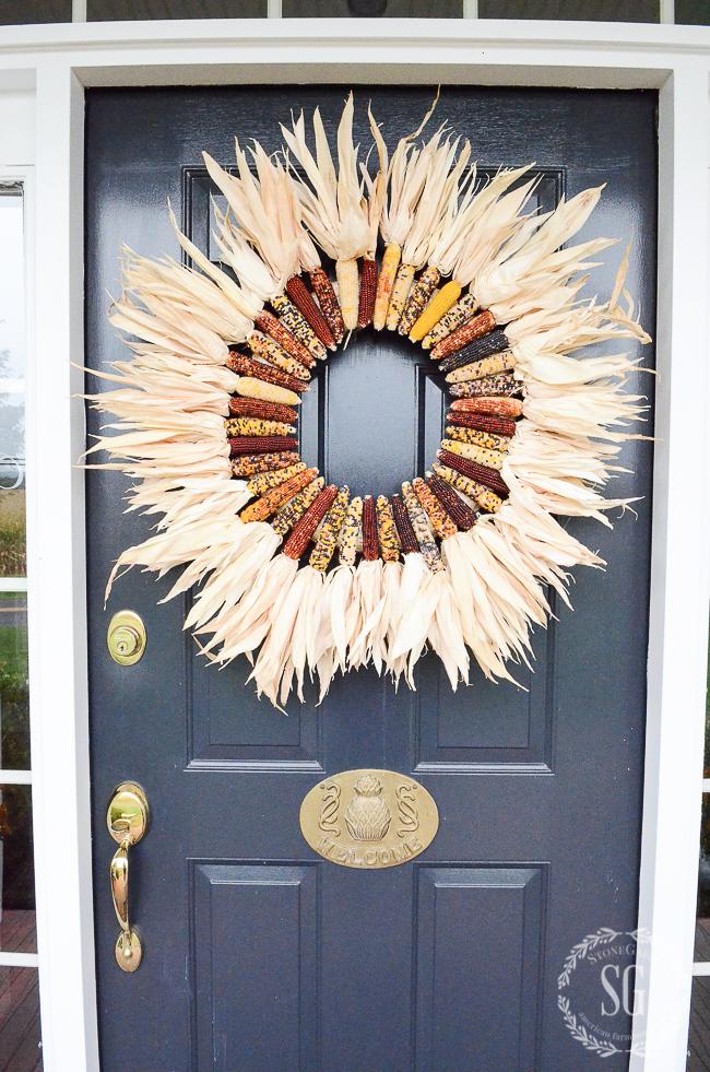 INDIAN CORN WREATH ON A FRONT DOOR