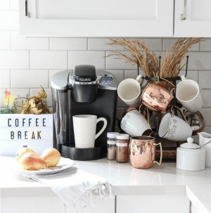 KITCHEN COFFEE BAR IDEA: Learn how to set up a Fall coffee and tea bar - with all the supplies you need for entertaining!