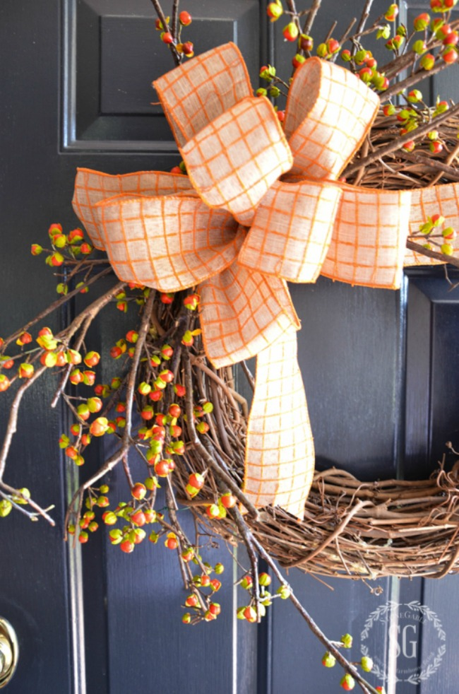 bittersweet wreath on a front door