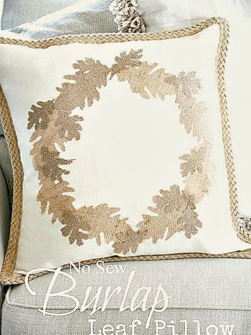 EASY NO-SEW BURLAP LEAF PILLOW DIY