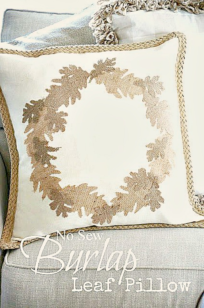 EASY NO SEW BURLAP LEAF PILLOW DIY- Add this beautiful fall pillow to your home this season. Such an easy project you don't even have to be crafty to make it!
