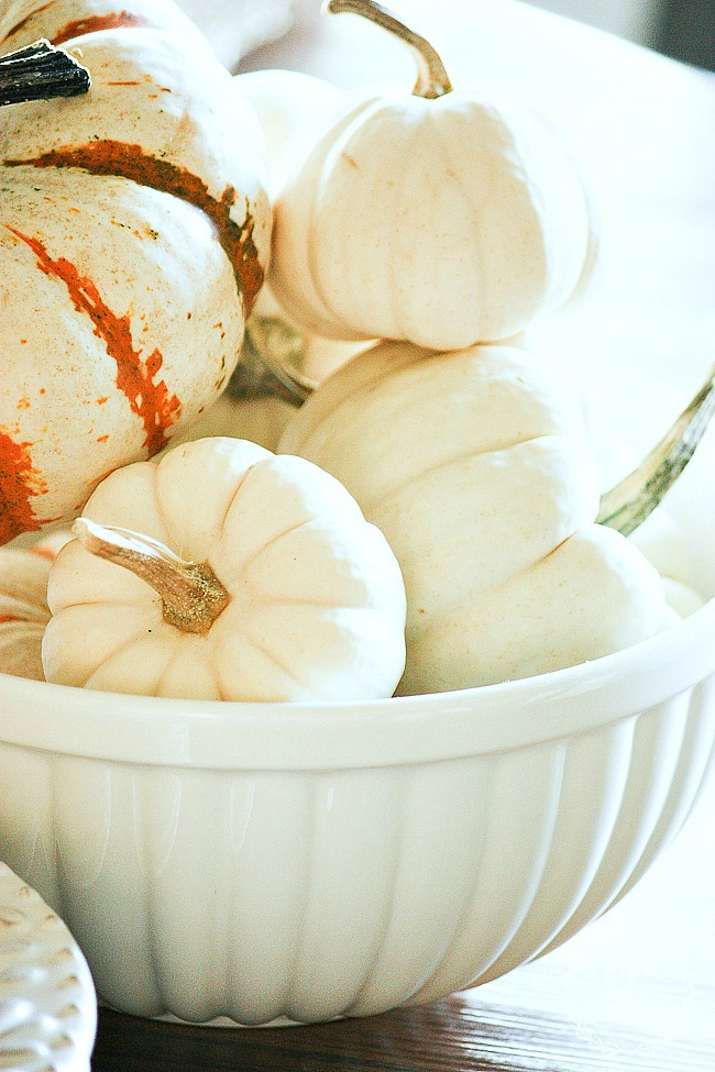 bow of white pumpkins on a beautiful fall table