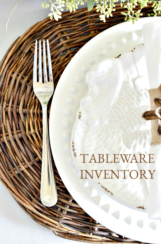 TABLEWARE INVENTORY-Know what you have, what you need, where you have it and what you would like. Everyone who sets a table should have a tableware inventory