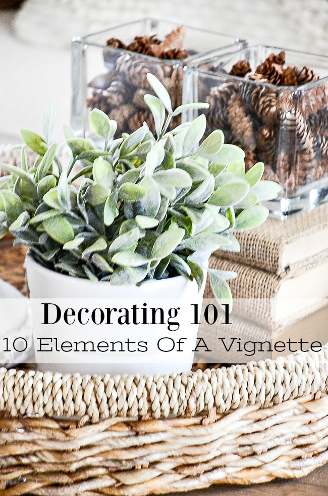 DECORATING 101- This is a must read for everyone who love to decorate. In it you will learn the 10 elements that make up a beautiful vignette. Designers know these tips well and so should you!