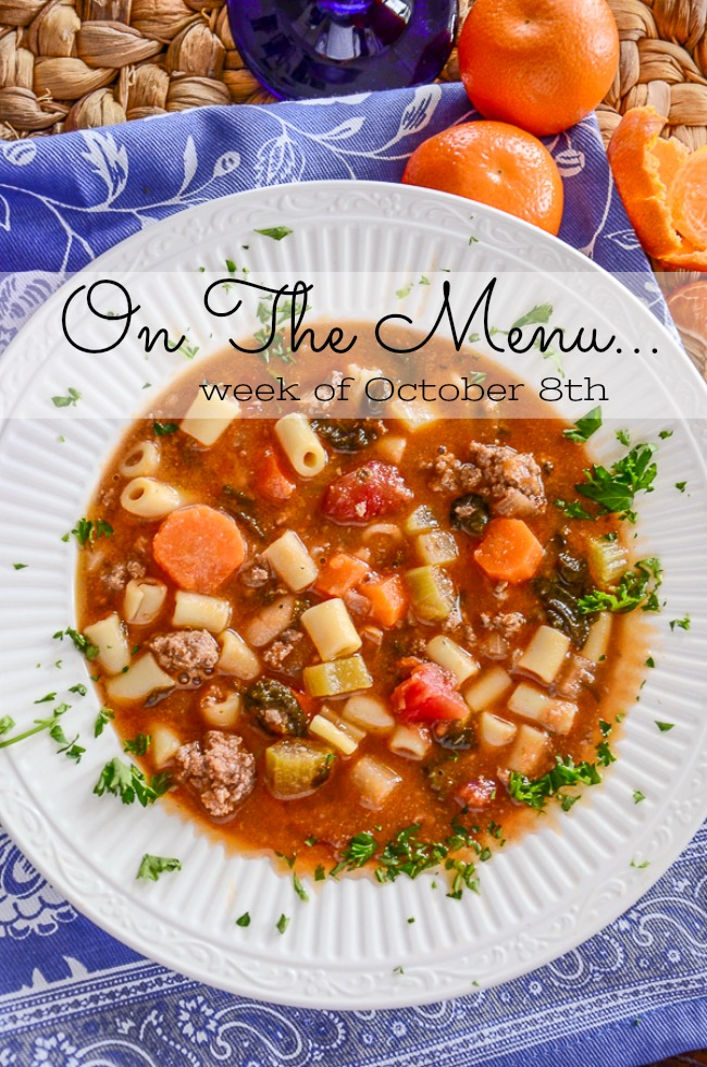 ON THE MENU WEEK OF OCTOBER 8TH- Here's a week's worth of scrumptious dinner menus planned for you! Delicious seasonal recipes!