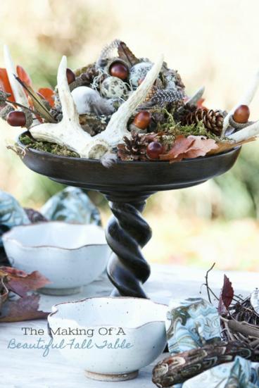 beautiful fall table pedestal centerpiece