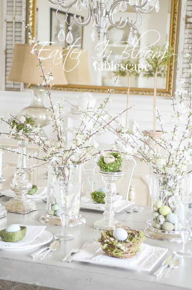EASTER IN BLOOM TABLESCAPE- This is such an easy table to put together. I'm sharing my best Easter tablescaping secrets here!