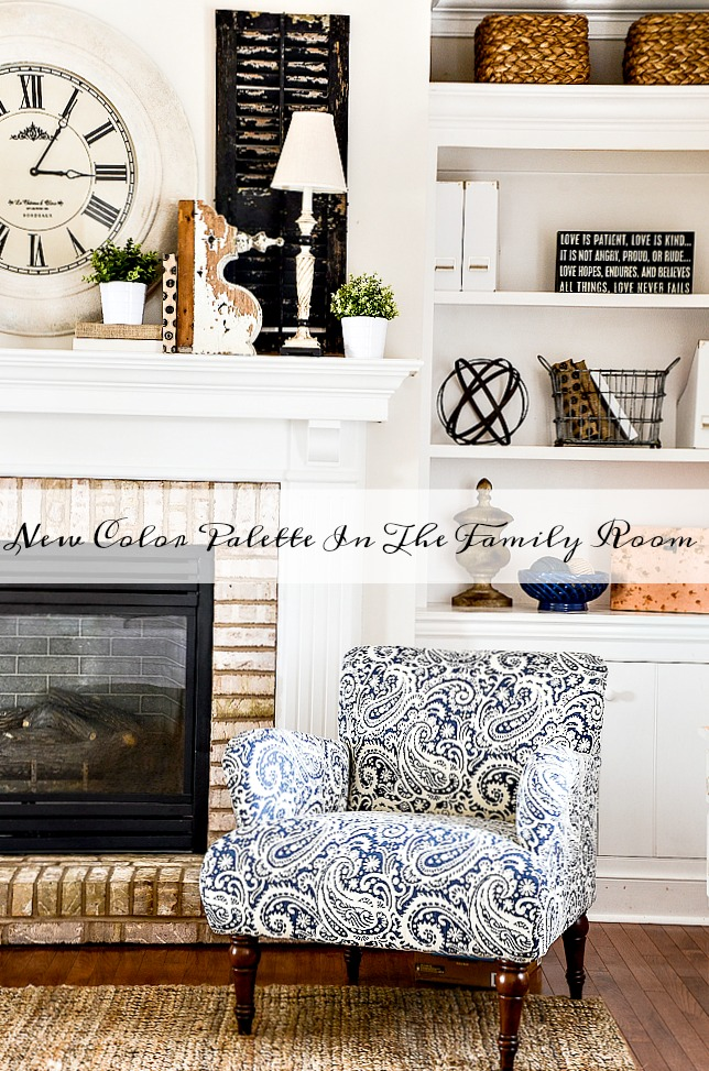NEW COLOR PALETTE IN THE FAMILY ROOM -How I'm adding another color to my neutral color palette.