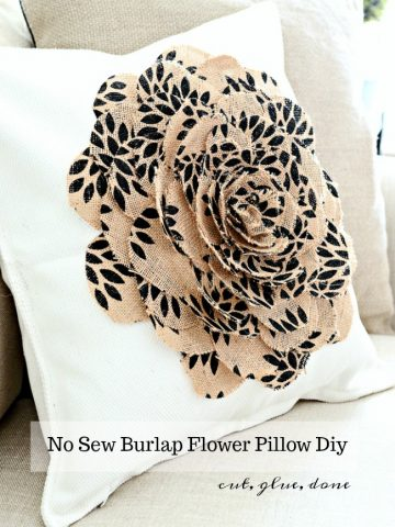 NO SEW BURLAP FLOWER PILLOW DIY
