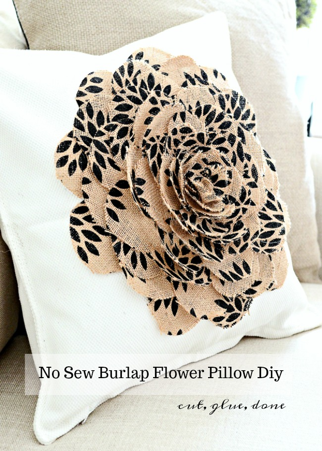 NO SEW BURLAP FLOWER PILLOW DIY- even if you are not crafty you can make this pillow. So easy and soooo pretty!