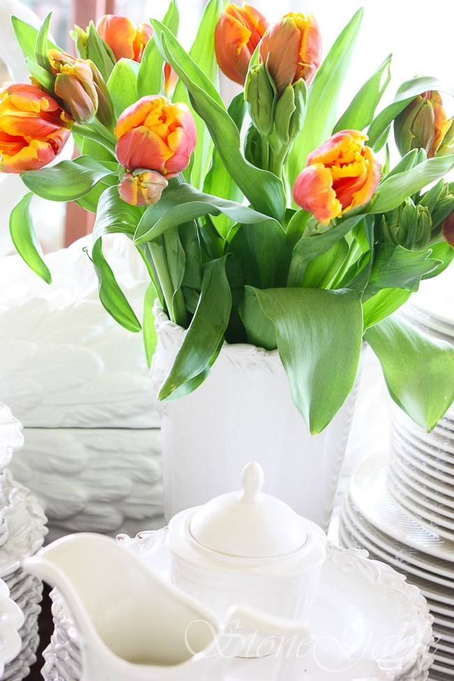 PARROT TULIPS IN A WHITE URN
