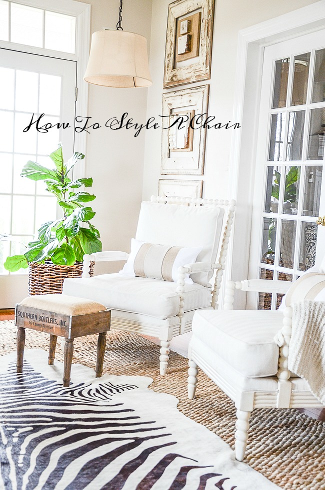 HOW TO STYLE A CHAIR- There is more to styling a chair to work with it's surroundings than you may think. Here are a few tips to help you chair look it's best and contribute to the beauty of a room!