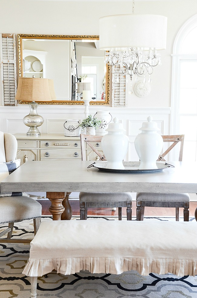 The Color Of Table Works With Silver In Rug And Nailheads On Head Chairs I Also Am A Huge Fan Mixing Metals