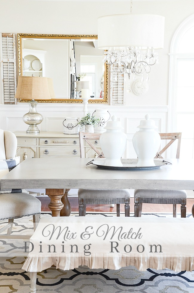 MIX AND MATCH DINING ROOM- The secret to a uniquely yours and beautiful dining room is mixing up your furniture.