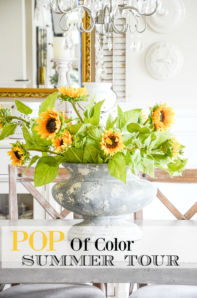POP OF C OLOR SUMMER TOUR- Need a little summer color in your home? I have easy to do tips for adding a great pop of color to summerize your space!