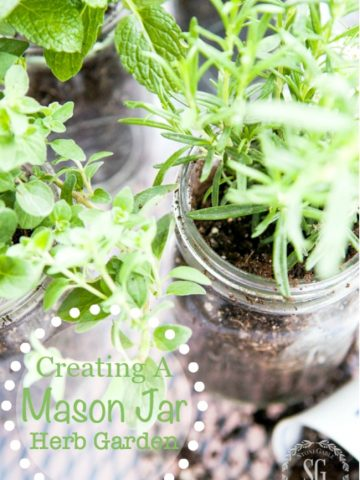 10 MINUTE MASON JAR HERB GARDEN- Create a darling herb garden for indoors and out!