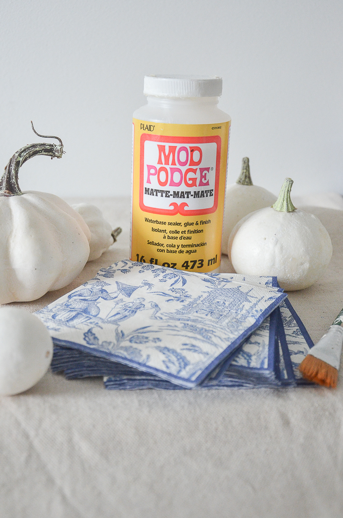 mod podge, faux white pumpkins and chinoiserie paper napkins